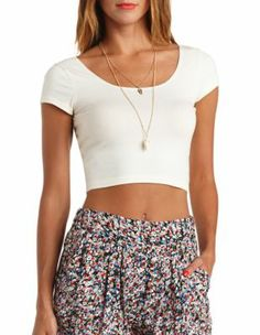 double scoop cotton crop top  (would wear with the high wasted skirts, stomach wouldn't show)