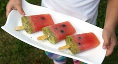 Watermelon pops made from only fruit - watermelon, honeydew, kiwi.  from mama.papa.bubba - jkossowan
