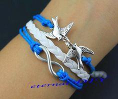 Infinity bracelets bracelets couple bird blue by eternalDIY, $3.99