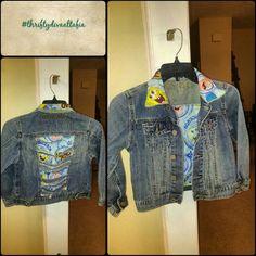 Kids #custom #spongebob #denim jacket.. Kids #custom #spongebob #denim jacket..#thriftydivaaltafia Guess Jackets & Coats Jean Jackets