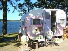 Shabby Chic Camper parked in the most perfect setting!