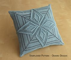 Starflower pattern 12 crochet square pillow ready to ship double sided design Crochet Pillow Cases, Crochet Cushion Cover, Crochet Pillow Pattern, Crochet Cushions, Granny Square Crochet Pattern, Crochet Squares, Crochet Granny, Filet Crochet, Crochet Motifs