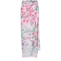 ROOPA Gathered Wrap Maxi Skirt (3,805 CNY) ❤ liked on Polyvore featuring skirts, pink, floor length skirt, ruched skirt, long maxi skirts, long skirts and asymmetrical skirt