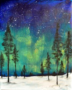Northern Lights  ORIGINAL PAINTING  Acrylic on 8 x 10 canvas by Ruth Oosterman