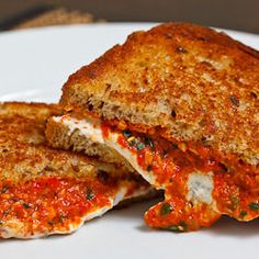 Grilled Goat Cheese and Roasted Red Pepper Pesto Sandwich.