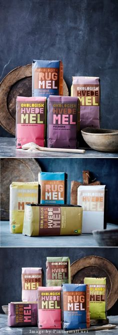 Bringing colour to flour packaging Rice Packaging, Cool Packaging, Food Packaging Design, Beverage Packaging, Packaging Design Inspiration, Brand Packaging, Organic Packaging, Bakery Packaging, Design Poster