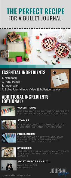 A little recipe for starting a bullet journal, some essentials and some extra ingredients. :-) #bujo #bulletjournal #journaling