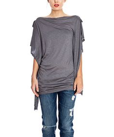 Look what I found on #zulily! Slate Gray Side-Tie Boatneck Top #zulilyfinds