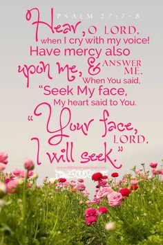 """Hear, O LORD, when I cry with my voice! Have mercy also upon me, and answer me! When You said, """"Seek My face,"""" My heart said to You, """"Your face, LORD, I will seek."""" Psa 27:7-8 <3"""