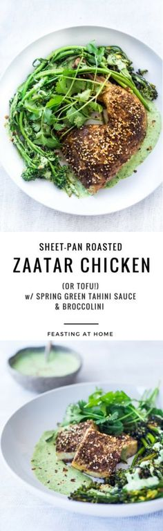 Zaatar Chicken (or Tofu) with Green Tahini Sauce and Broccolini - asimple flavorful Middle Eastern sheet-pan dinner that is vegan adaptable and gluten free.