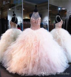 Crystal Beaded High Neck Organza Ruffles Ball Gowns Quinceanera Dresses 2018 Backless Vestidos De 15 Anos Sweet 16 Prom Gowns