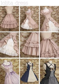 Lolita dresses and skirts. Ruffles. Adorable. Feminine.