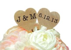 Rustic Cake Topper - Wooden Heart Wedding Cake Topper - Customized With Your Names and Wedding Date by ThePetitePackage on Etsy
