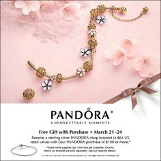 bafd7f701 Up coming Bracelet Promotion March 21st to March 24th Pandora Gold, Pandora  Bracelets, Pandora