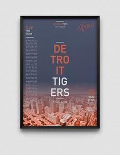 Detroit Tigers Estampe moderne par DesignsByEJB sur Etsy