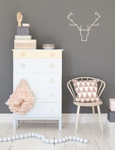 pink, white and deep grey work so nicely together.  A dark grey would not usually come to mind for a young girls room, but it works so nicely with the white a pink