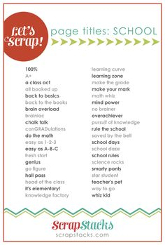 school page title ideas for scrapbooking from Scrap Stacks