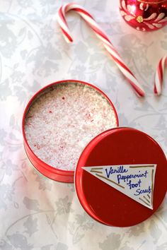 DIY beauty gift basket with peppermint foot scrub, body oil + soap