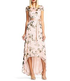 Adrianna Papell Sequin HiLow Short Sleeve Gown #Dillards
