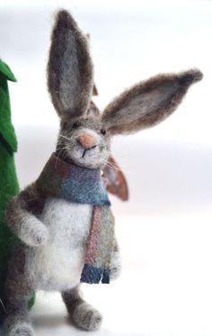 Needle Felted Scottish Hare miniature animal Home by madamecraig