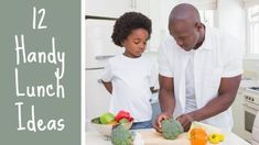 A youtube video template. Background video of father and son preparing meal. 12 handy lunch ideas.