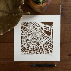 Karen O'Leary, Amsterdam hand-cut map, 10 x 10