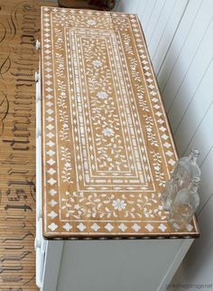 How to Stencil Bone Inlay Furniture - DIY furniture makeover ideas by Girl in the Garage® Diy Furniture Renovation, Diy Furniture Projects, Refurbished Furniture, Paint Furniture, Upcycled Furniture, Stenciling Furniture, Cheap Furniture Makeover, Flip Furniture, Patterned Furniture