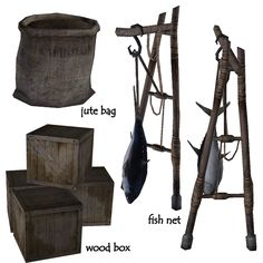 Sims Castaway, Things To Buy, Stuff To Buy, Jute Bags, The Sims4, Sims Cc, Wood Boxes, Medieval, Objects