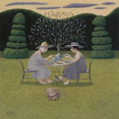 Ladies in Lavender by Marcelle Milo-Gray, Greeting Card.