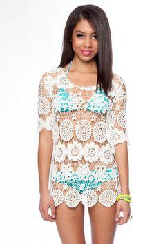 Lace Crochet Dress in Off White $26 at www.tobi.com