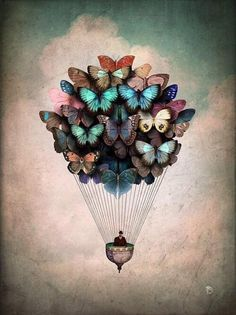 """"""" There are many ways to be free. One of them is to transcend reality by imagination, as I try to do."""" - Anäis Nin. Painting by Christian Schloe. °"""