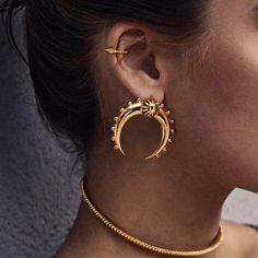 Vintage Silver/Gold Plated Ear Stud Moon Geometry Punk Earrings Jewelry Us
