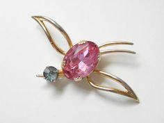 Vintage Pink Rhinestone Coro Bird Brooch 40s by GrandVintageFinery, $48.00