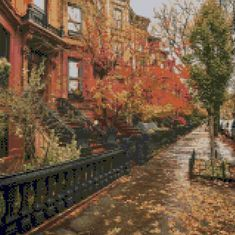 Brooklyn New York brownstones in Autumn landscape Cross Stitch pattern PDF - Instant Download! by PenumbraCharts on Etsy