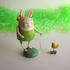 OOAK Folk Art Vintage Style Easter Bunny Rabbit with Antique Style Pull Toy. $40.00, via Etsy.