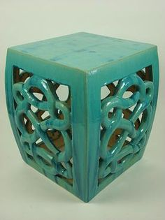 Teal Ceramic Eternity Stool Available in a Variety of Colors to order