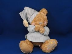 New product 'First and Main Blue Prayer Bear Now I Lay Me Down to Sleep' added to Dirty Butter Plush Animal Shoppe! - $18.00 - First & Main Plush 10 inch Tan Prayer Bear - Pink Embroidered Patch Cheeks - Gray Embroidered Patch Nose - Praying H…