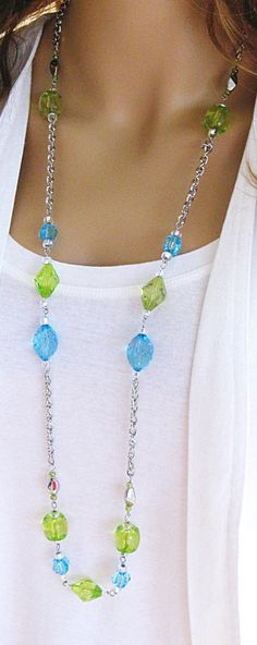 Long Blue and Green Beaded Necklaces Long Beaded Necklaces