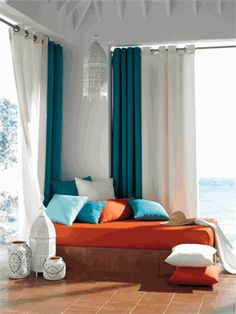 "Aster Curtains in Turquoise - nice heavy weave for window treatments- modern color is popular trend -extra long 108"" and 120"" L inch length available"