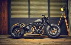 Harley Davidson Bobber | Crowned Stallion The latest custom build from the Rough… #harleydavidsonsoftaildeluxe