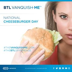 Fun Fact on National Cheeseburger Day: Do you know how many calories and grams of fat are in a cheeseburger? Answer per Livestrong, 343 calories and 16.4g of fat for a typical fast food cheeseburger. If you love cheeseburgers as much as we do maybe it's time to say BTL Vanquish ME! #TheVanquishMELook #TheBTLDifference