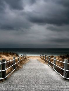 Seascape Photography, Fine Art Print, Boardwalk to Beach, Off Season Print, 11X14 Mat, Landscape Photography, Stormy Sky. $40.00, via Etsy.