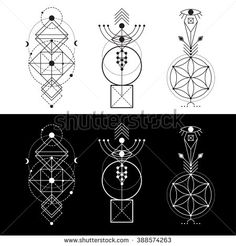 Magic totem, sacred symbols - stock vector Love the asymmetrical nature. Middle one without the square box at the bottom. Just thinking of adding symbols to my site. Geometry Art, Sacred Geometry, Geometric Designs, Geometric Shapes, Geometric Symbols, Tattoo Geometrique, Motifs Aztèques, Graphisches Design, Text Design