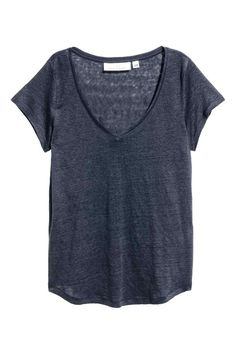 Linnen T-shirt met V-hals - Donkerblauw - DAMES | H&M BE