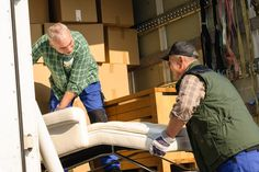 Photo about Two male movers putting furniture and boxes in moving truck. Image of moving, mover, relocation - 24471786 Best Moving Companies, Moving Services, Moving Day, Moving Tips, Furniture Box, Furniture Removal, Furniture Stores, Moving On After A Breakup, Free Move