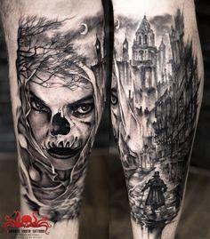 Skull girl tattoo by Mehdi Rasouli broken tooth tattoos Skull Girl Tattoo, Girl Tattoos, Tooth Tattoo, Teeth, Black And Grey, Portrait, Fictional Characters, Art, Art Background