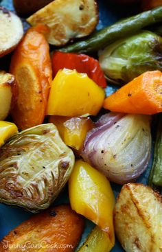Roasted Vegetables recipe from Jenny Jones (JennyCanCook.com) - So easy and so healthy! Toss veggies on a pan with olive oil, salt and pepper. Roast. Eat. Live longer.
