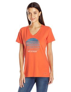 Life is good Women's Crusher Lig Stripe Circle T-Shirt, Coral Orange,X-Small. Slight waist shape. Rib at the neck and Self-fabric taping from shoulder to shoulder. The Life is good company donates 10% of all sales to kids in need.