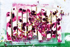 Mulberry and pistachio frozen yoghurt slice