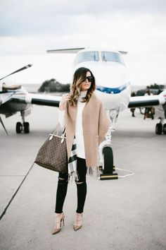 Holiday travel with Burberry via For All Things Lovely | Topshop sweater, Burberry plaid + neutral wrap, J Brand denim, Louis Vuitton handbag, Valentino nude pumps, David Yurman bracelet stack, and Celine sunnies make for a chic, casual travel look | Charleston, SC
